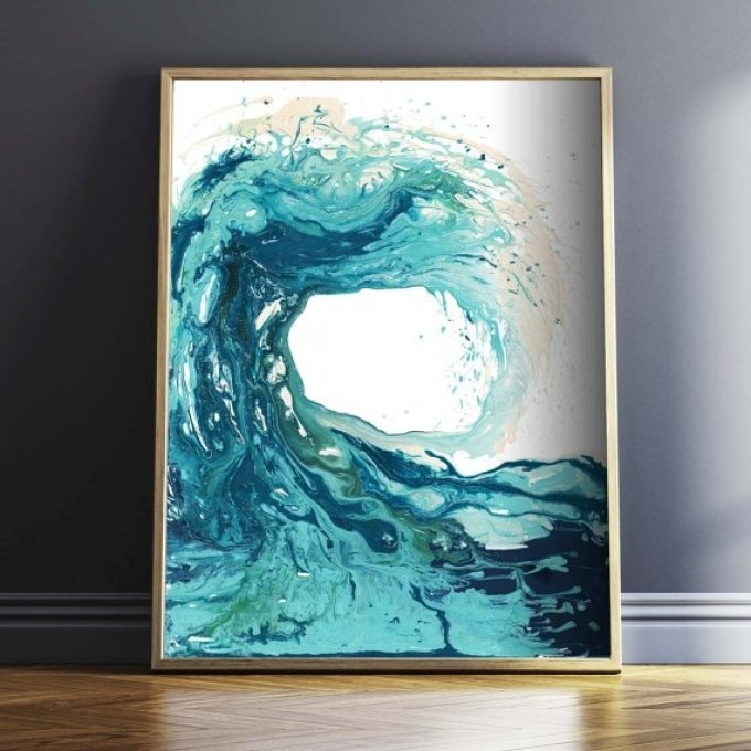 Current Abstract Ocean Wall Art In Beach Ocean Art Painting Abstract Beach Ocean Wall Art Print, Ocean (View 14 of 15)