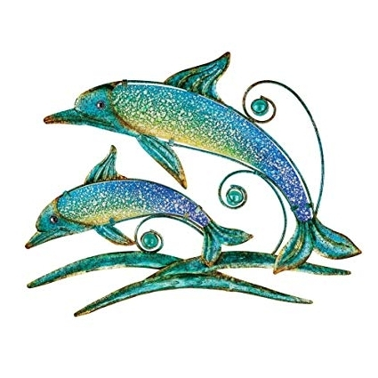 Current Amazon : Dolphin Metal Wall Art Coastal Decoration – For Indoor Within Dolphin Metal Wall Art (View 3 of 15)
