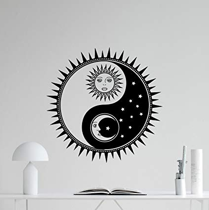 Current Amazon: Sun And Moon Yin Yang Wall Decal Sun Stars Vinyl Sticker Inside Yin Yang Wall Art (View 2 of 15)