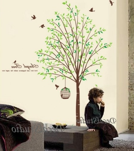 Current Angel Tree Vinyl Wall Art Stickers Wall Decal Tree (View 3 of 15)