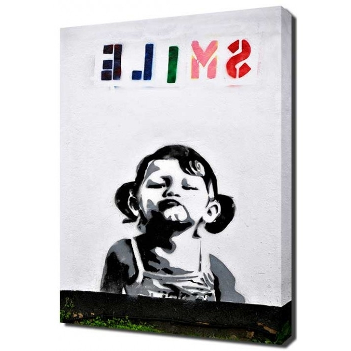 Current Banksy Canvas Wall Art Inside Banksy Smile Girl Canvas (View 7 of 15)