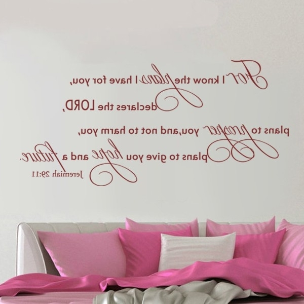 Current Bible Verses Wall Art Within For I Know The Plans For You Jeremiah 29:11 Wall Art Decal Bible (View 4 of 15)