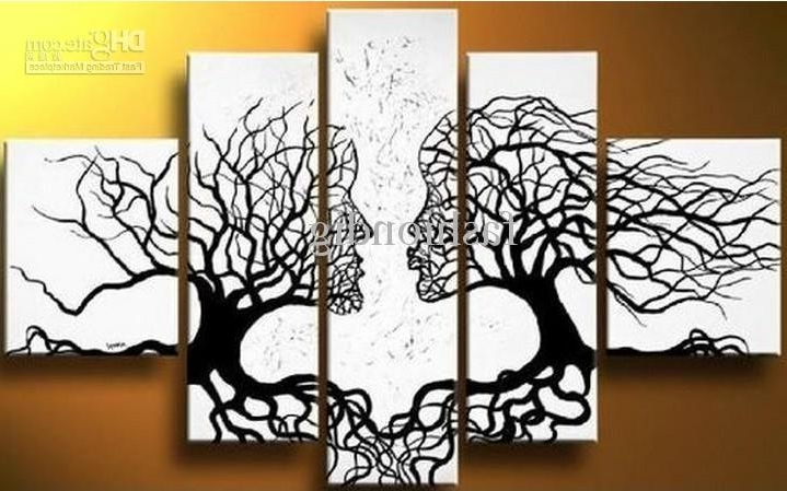 Current Black And White Abstract Wall Art Throughout 2018 Abstract Black White Oil Painting Couple Love Tree Home Office (View 12 of 15)