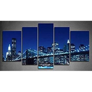 Current Brooklyn Bridge Metal Wall Art Pertaining To Amazon: 5 Panel Wall Art Blue Brooklyn Bridge Manhattan Skyline (View 5 of 15)