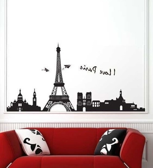 Current Buy Walltola Eiffel Tower Paris Black Pvc Vinyl Wall Sticker Online With Regard To Paris Vinyl Wall Art (View 15 of 15)