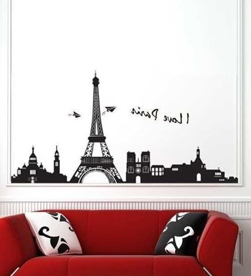 Current Buy Walltola Eiffel Tower Paris Black Pvc Vinyl Wall Sticker Online With Regard To Paris Vinyl Wall Art (View 15 of 15)