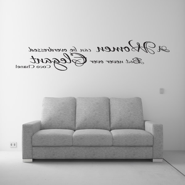 Current Coco Chanel Women Elegant Wall Art Quote Sticker – Lounge Bedroom Regarding Love Coco 3D Vinyl Wall Art (View 2 of 15)