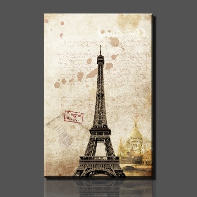 Current Eiffel Tower Wall Hanging Art For Paintings 1 Piece Hot Sell Paris Eiffel Tower Picture On Canvas Arts (View 14 of 15)