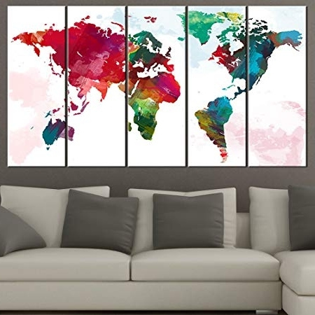 Current Extra Large Wall Art Canvas World Map – Rainbow Coloured World Map Within World Wall Art (View 4 of 15)