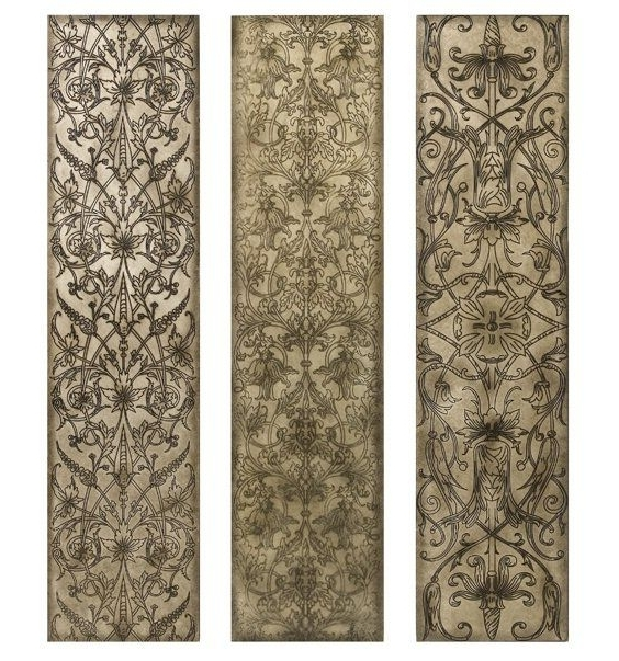 Current Filigree Pattern Black And White Wood Wall Art Panels, Set Of 3 Regarding Wood Wall Art Panels (View 1 of 15)