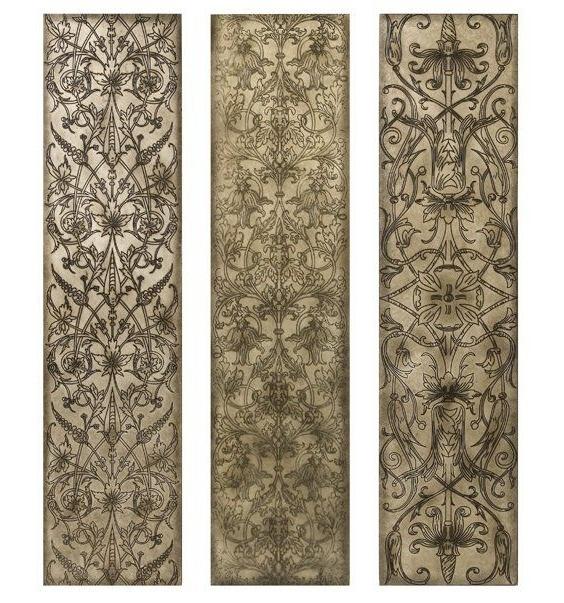 Current Filigree Pattern Black And White Wood Wall Art Panels, Set Of 3 Regarding Wood Wall Art Panels (View 2 of 15)