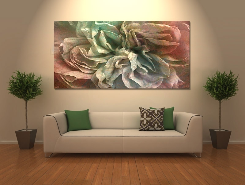 "Current Flower Dance"" Abstract Flower Art – Large Canvas Print – Within Abstract Floral Wall Art (View 8 of 15)"