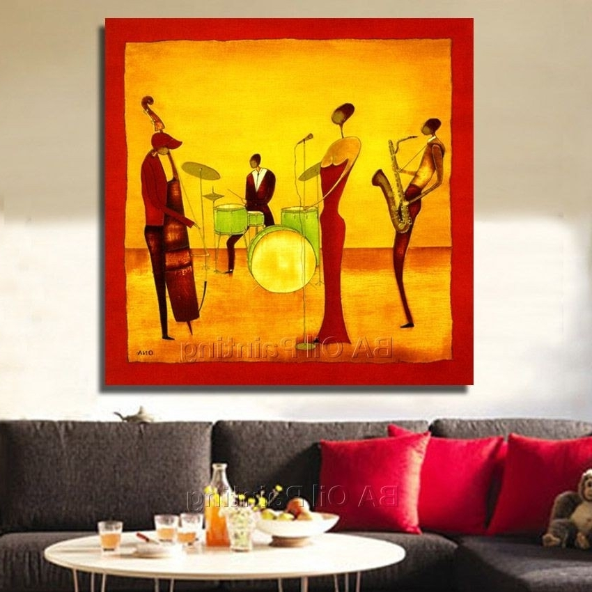 Current Free Shipping Handpainted Abstract Jazz Band Oil Painting On Canvas With Regard To Abstract Jazz Band Wall Art (View 4 of 15)