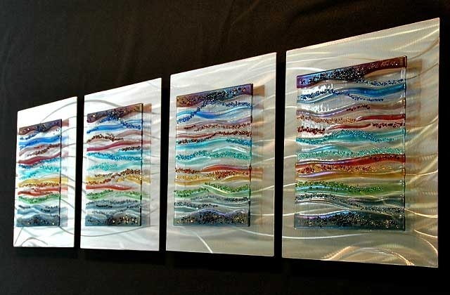 Current Fused Glass Wall Art Panels For Contemporary Glass Wall Art, Fused Glass & Metal Wall Art,kim (View 3 of 15)