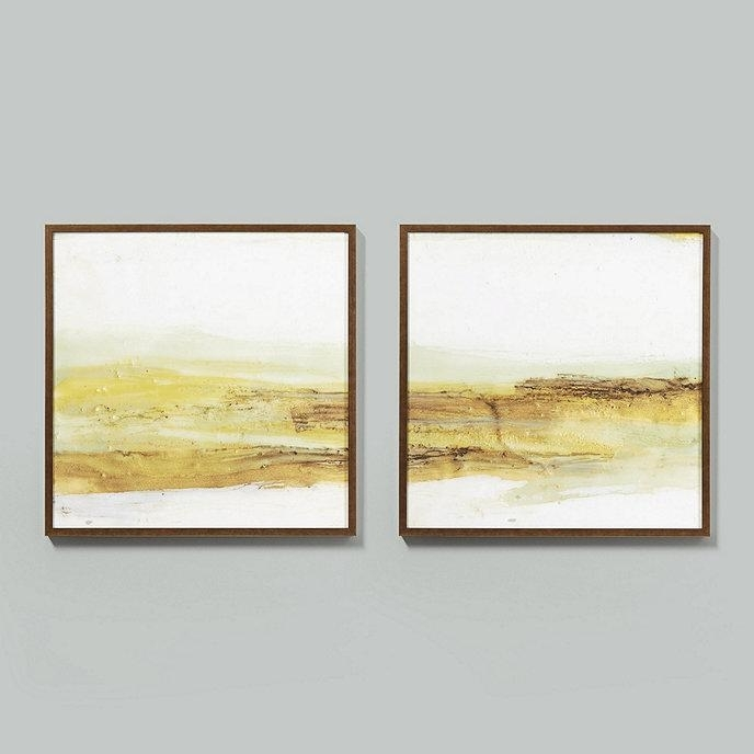 Current Golden Waves 2 Piece Abstract Wall Art Throughout Framed Abstract Wall Art (View 14 of 15)