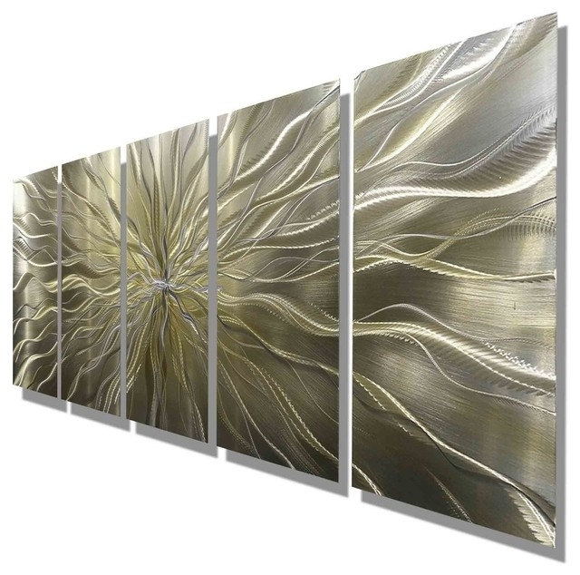 Current Large Abstract Silver And Gold Hand Etched Modern Art Metal Wall Throughout Large Abstract Metal Wall Art (View 5 of 15)