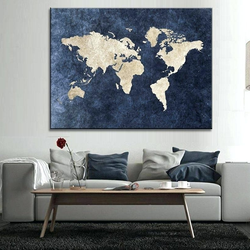 Current Large Modern Wall Art Inside Abstract Map Wall Art Abstract Blue World Map Canvas Print Large (View 14 of 15)