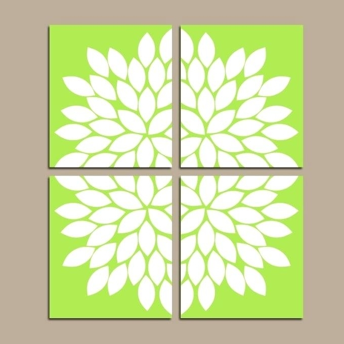 Current Lime Green Wall Art Prints Items Kitchen Decor Flower Canvas W In Lime Green Wall Art (View 11 of 15)