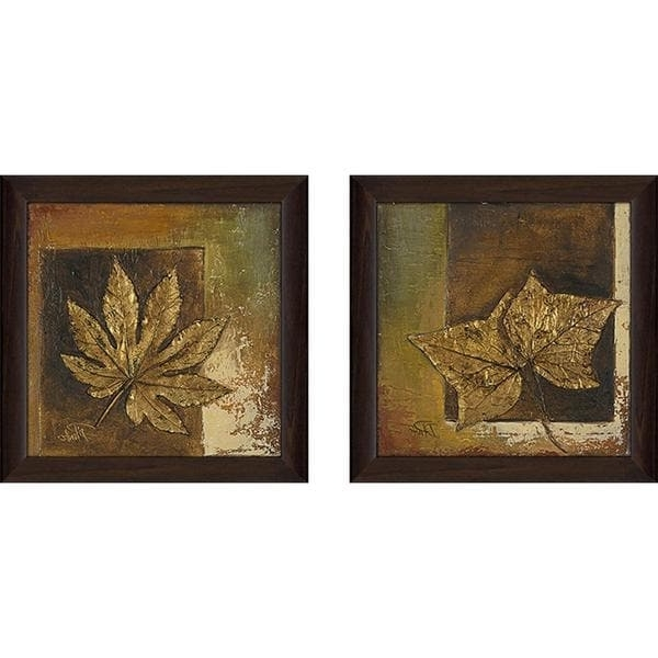 "Current Matching Wall Art Set Regarding Shop ""golden Leaves"" Wall Art Set Of 2, Matching Set – On Sale (View 1 of 15)"