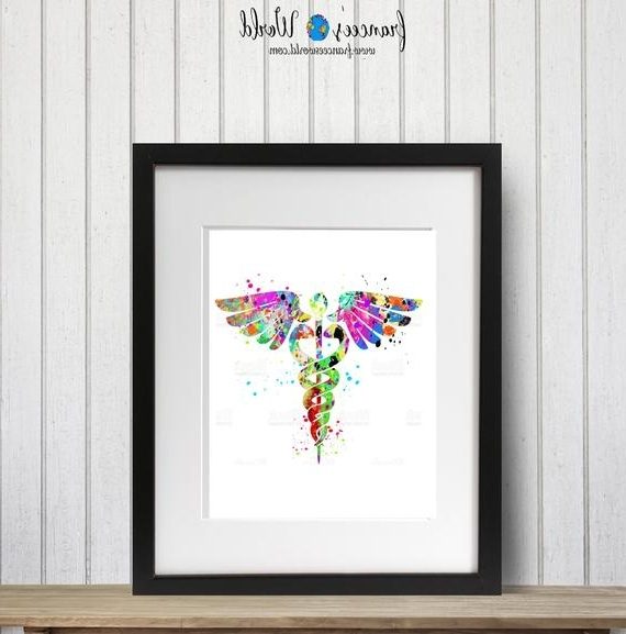 Current Medical Wall Art Inside Caduceus Medical Symbol Art Watercolor Printable Art Wall Art Doctor (View 2 of 15)
