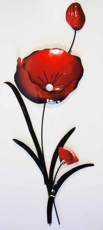 Current Metal Poppy Wall Art In Metal Wall Art – Red Poppy Flower Bunch (View 1 of 15)