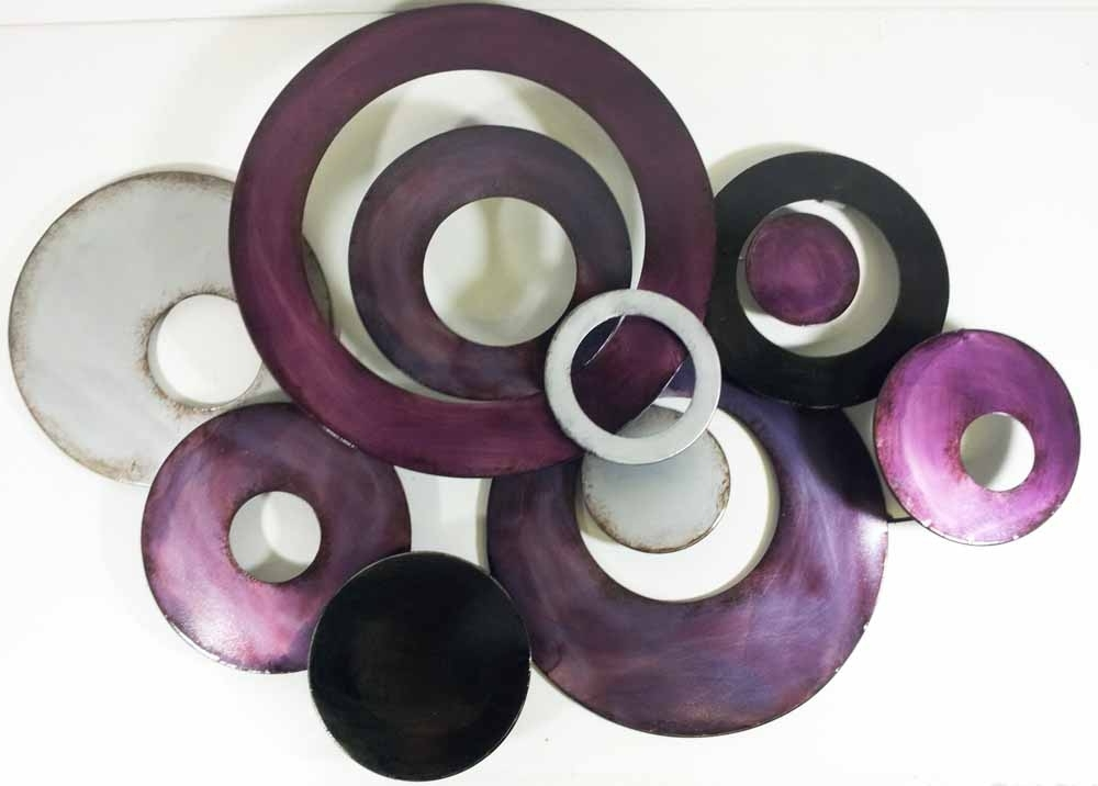 Current Metal Wall Art Purple Linked Circle Disc Abstract Awesome Purple Inside Purple Abstract Wall Art (View 1 of 15)