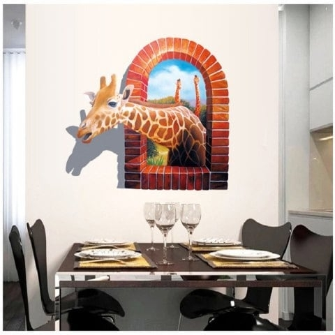 Current Mixed Color 70 X 100 Cm Cartoon Animals Giraffe 3D Wall Sticker For In Animals 3D Wall Art (View 13 of 15)