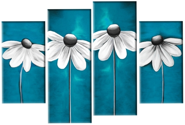 Current Modern Daisies In Teal Grey White Floral Daisy Line 4 Panel Canvas Regarding Teal Flower Canvas Wall Art (View 7 of 15)