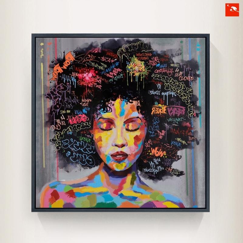 Current New Graffiti Street Wall Art Abstract Modern African Women Portrait Regarding Abstract Graffiti Wall Art (View 15 of 15)