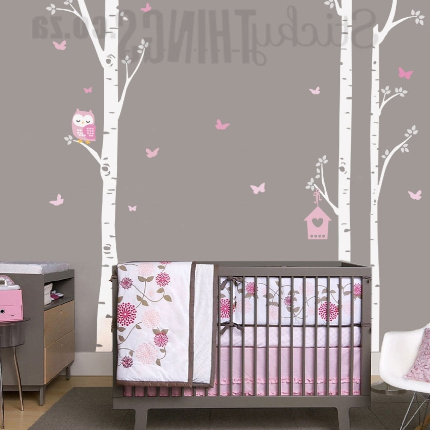 Current Owl Trees Wall Art Sticker – Owl Birch Trees Wall Decal Intended For Owl Wall Art Stickers (View 1 of 15)