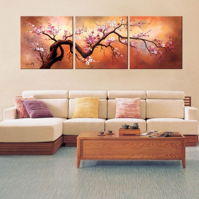 Current Plum Blossom Wall Art Hand Painted Oil Canvas 3 Pc Large Japanese Inside Plum Wall Art (View 7 of 15)