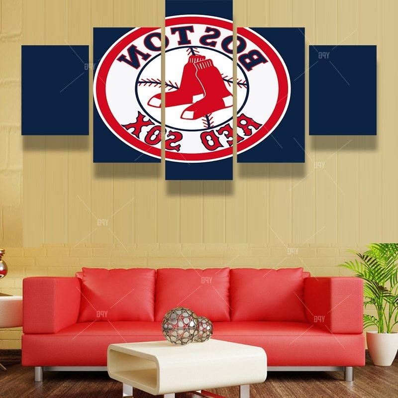 Current Red Sox Wall Art With Regard To 5 Panels Boston Red Sox Sports Team Fans Oil Painting For Living (View 2 of 15)