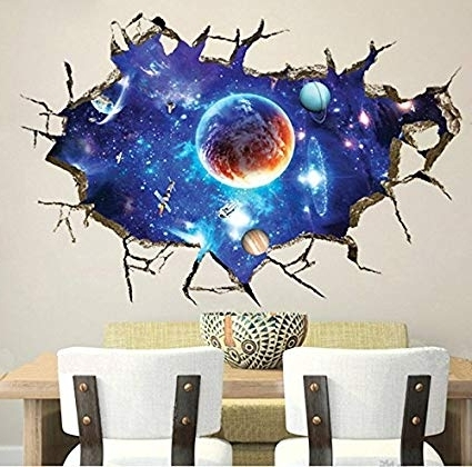 Current Space 3D Vinyl Wall Art Throughout Amazon: Chans® 3D Wall Stickers,cracked Wall Effect Planet World (View 3 of 15)
