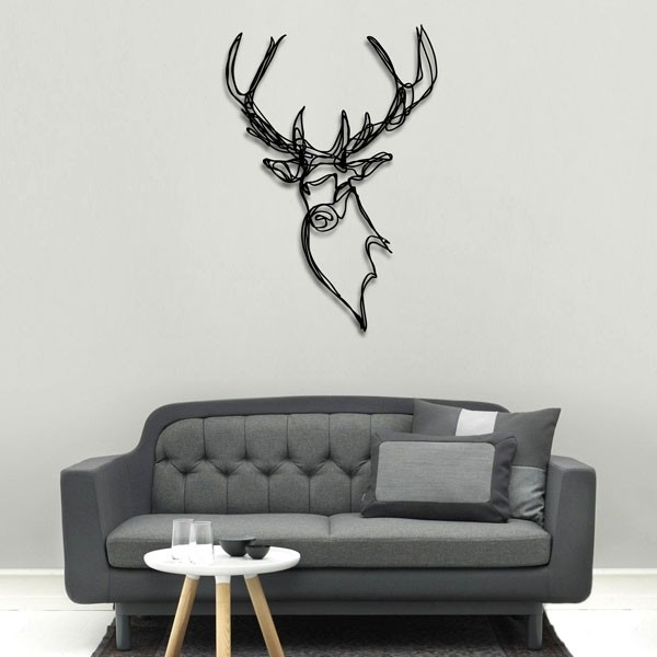 Current Stag Head Wooden Wall Art – Red Candy Inside Stag Wall Art (View 1 of 15)