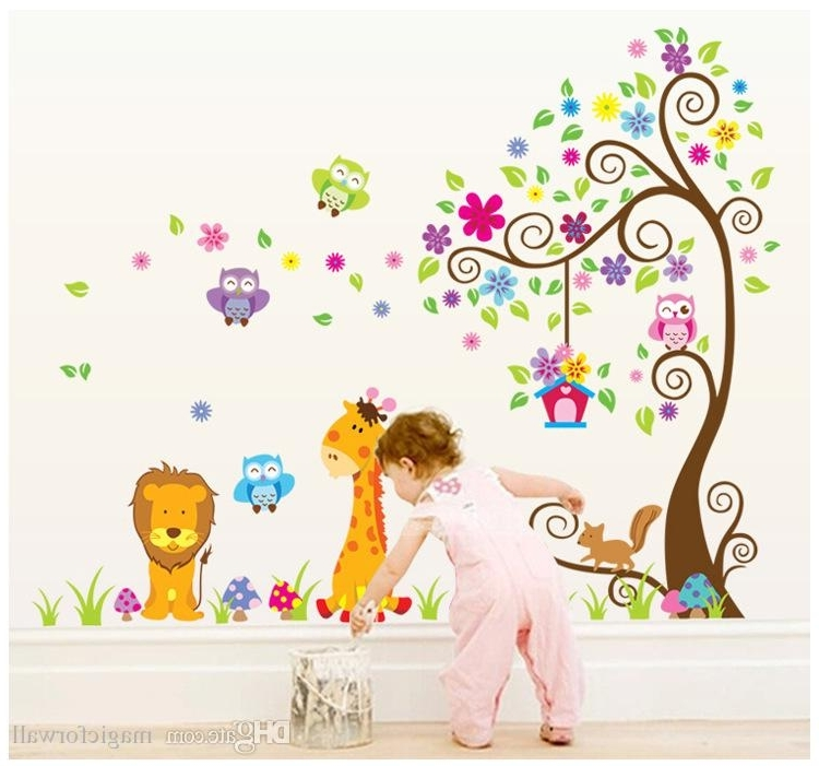 Current Wall Art Stickers For Childrens Rooms Pertaining To Kids Room Nursery Pvc Wall Art Sticker Owl Lion Giraffe Flower Tree (View 2 of 15)