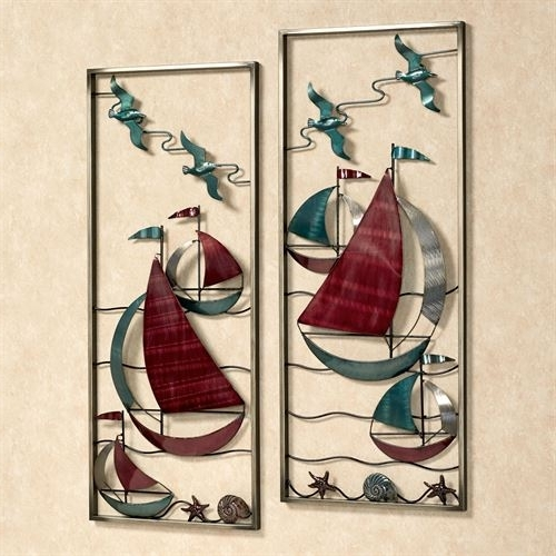 Current With The Sea Metal Sailboat Wall Art Panel Set With Metal Sailboat Wall Art (View 3 of 15)