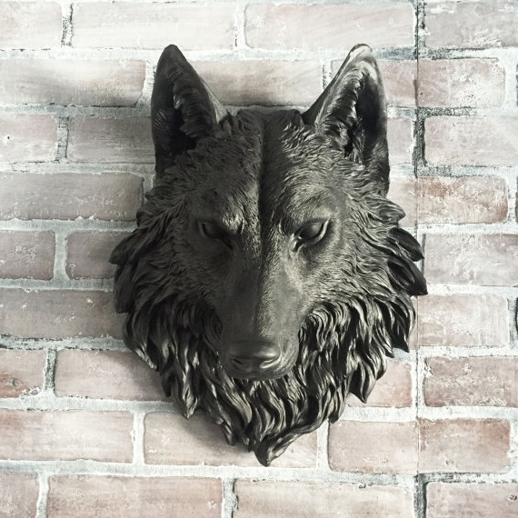 Current Wolf 3D Wall Art With Any Color Fake Wolf Head Wall Mount // Faux Taxidermy // 3D Resin (View 2 of 15)