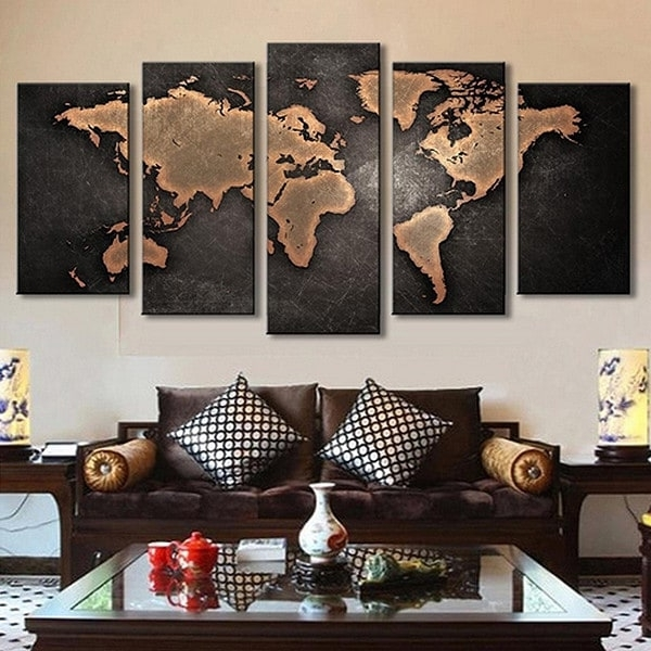 Current World Wall Art Within 5Pcs Retro World Map Printed Canvas Print Unframed Wall Art – $ (View 5 of 15)