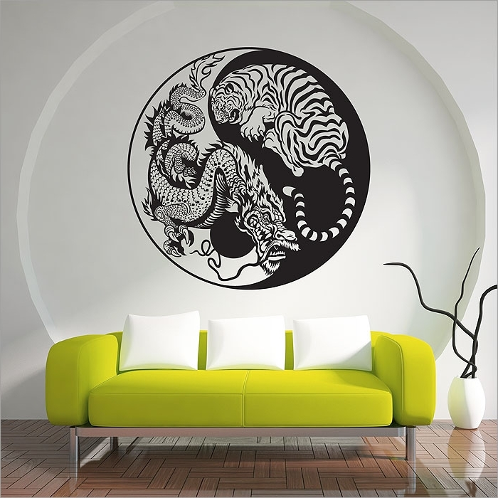 Current Yin Yang Wall Art With Regard To Dragon And Tiger Yin Yang Vinyl Wall Art Decal (View 6 of 15)