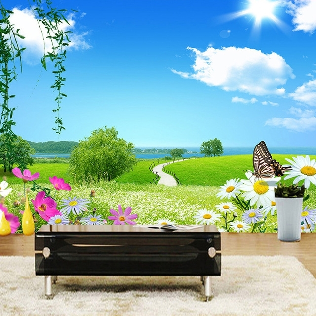 Custom 3D Photo Wall Paper Blue Sky White Clouds Butterfly Natural For Preferred 3D Clouds Out Of Paper Wall Art (View 12 of 15)