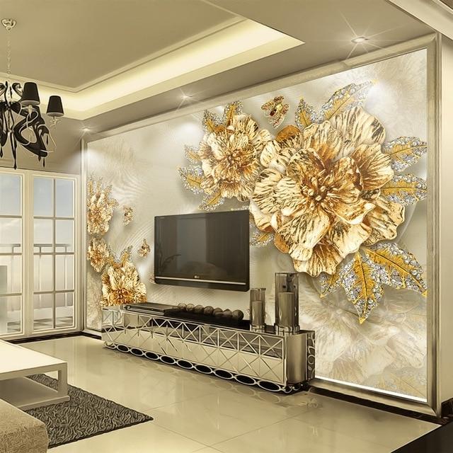 Custom 3D Wall Murals Wallpaper Non Woven Papel De Parede 3D Golden Intended For Preferred 3D Wall Art Wallpaper (View 4 of 15)