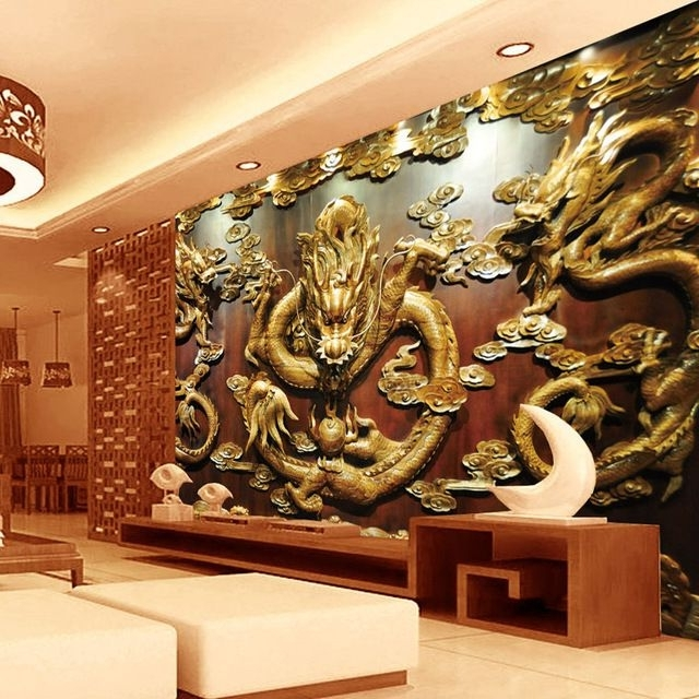 Custom 3D Wallpaper Wood Carving Dragon Photo Wallpaper Chinese Pertaining To Best And Newest 3D Wall Art Wallpaper (View 8 of 15)