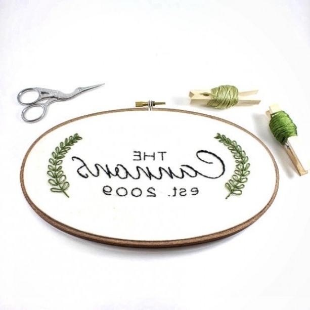 Custom Last Name Embroidery Hoop Art (View 15 of 15)