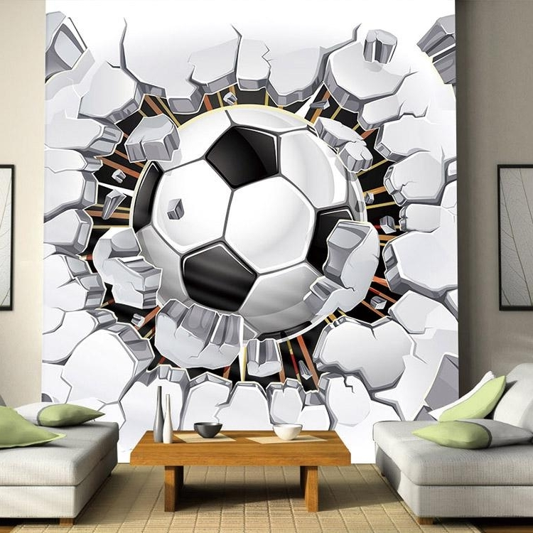 Custom Wall Mural Wallpaper 3D Soccer Sport Creative Art Wall Throughout Most Popular Football 3D Wall Art (View 4 of 15)