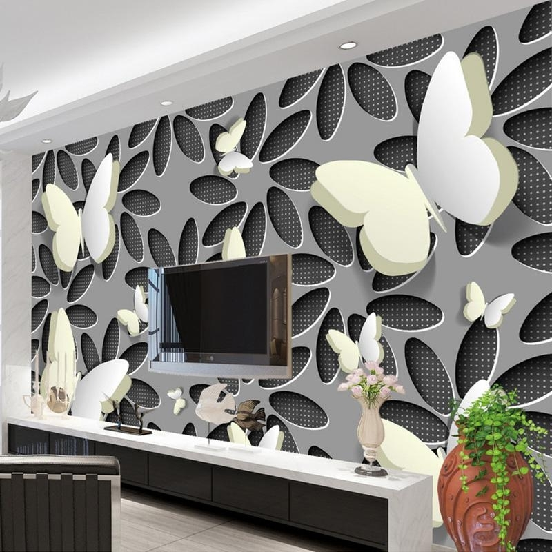 Custom Wallpaper Murals 3D Stereoscopic Butterfly Flowers Wall Mural With Regard To Current Abstract Art Wall Murals (View 11 of 15)