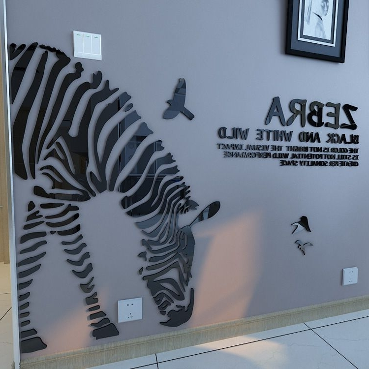 Customized Zebra 3D Crystal Acrylic 3D Background Large Wall In 2018 Zebra 3D Wall Art (View 4 of 15)