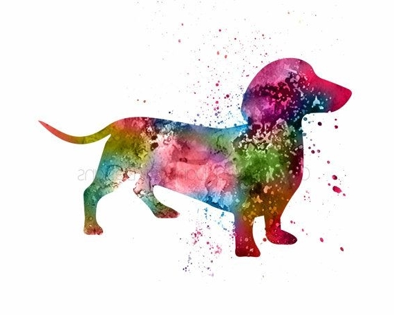 Dachshund Wall Art Inside Most Popular Dachshund Art Dachshund Gift Dachshund Wall Art Dachshund Watercolor (View 5 of 15)