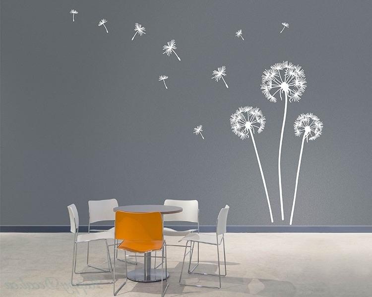 Dandelion Vinyl Art Decals Modern Wall Art Pertaining To Trendy Modern Vinyl Wall Art (View 14 of 15)
