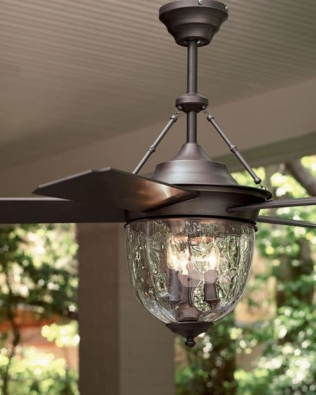 Dark Aged Bronze Outdoor Ceiling Fan With Lantern Throughout Fashionable Metal Outdoor Ceiling Fans With Light (View 3 of 15)