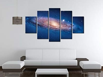 Dark Blue Abstract Wall Art In Preferred Amazon: 5 Panel Modern Abstract Wall Art Dark Universe Photo (View 9 of 15)